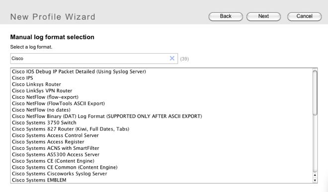 screenshot: format seach in Sawmill new profile wizard